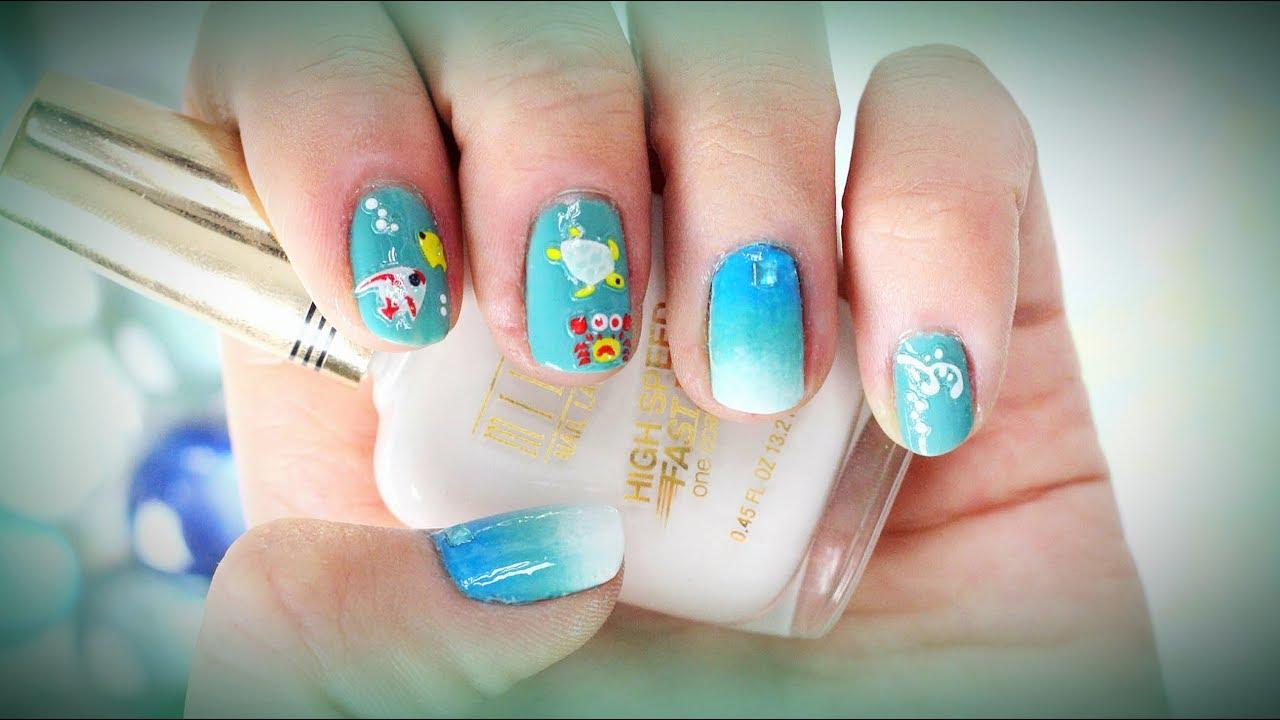 Маникюр на коротких ногтях для отпуска на море